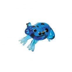 BlueBug Kézzel készült és festett üvegfigura | Kék pöttyös béka
