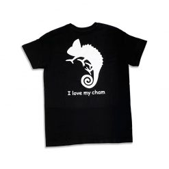 I Love My Cham Fekete felnőtt pamut póló - kaméleon | L