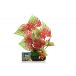 GiganTerra Piros tarkalevél talpas műnövény | 28 cm